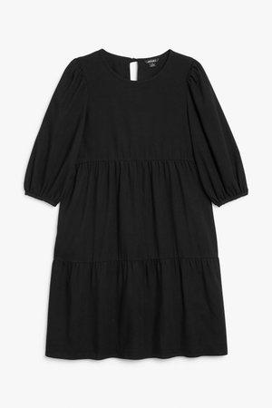 Denim flounce dress - Black - Midi dresses - Monki WW