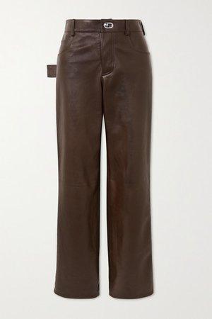 Leather Straight-leg Pants - Brown