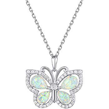 "Amazon.com: Fancime 925 Sterling Silver Butterfly Round Circle Necklace Synthetic Blue Spinel Danity Cubic Zirconia CZ Pendant Jewelry for Women Girls 18"": Jewelry"
