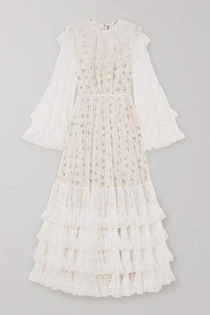 Layered Tiered Tulle And Floral-print Silk Maxi Dress - Ivory