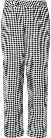 Tanner Cropped Gingham Linen Slim-leg Pants - Black