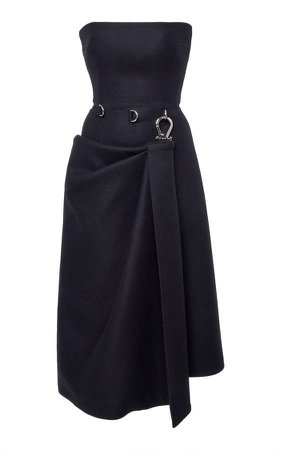 Strapless Wool-Crepe Corset Dress