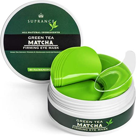 green Tea Matcha Eye Mask by Suprance - Under Eye Patches Treatment for Dark Circles, Eye Bags, Puffiness - Anti-Wrinkle With Hyaluronic Acid and Collagen - 30 Pairs/60 Pcs. : Beauty