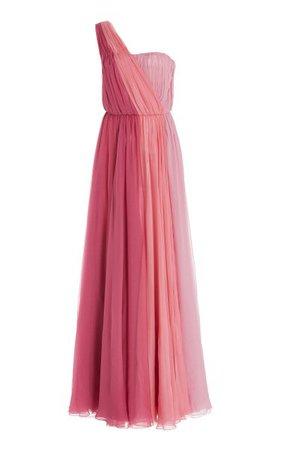 Draped Silk Chiffon One-Shoulder Gown By Dolce & Gabbana | Moda Operandi