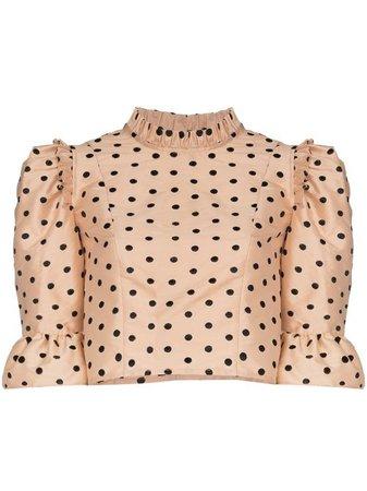 Shop black Batsheva cropped polka-dot blouse with Express Delivery - Farfetch