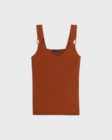 Knitted Tank Top - Brown   Classic Ted   Ted Baker