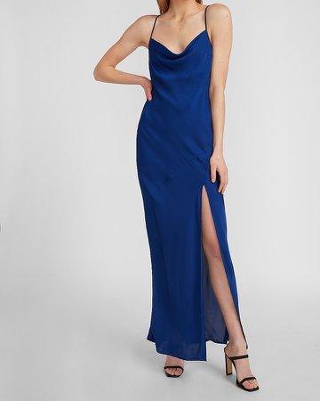Satin Cowl Neck High Slit Maxi Slip Dress