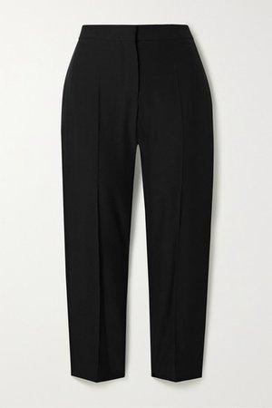 Cropped Woven Straight-leg Pants - Black