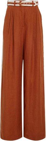 Belted Linen Wide-Leg Pants