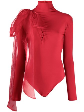 Shop red Atu Body Couture bow-embellished jersey bodysuit with Express Delivery - Farfetch
