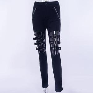 Balck Punk Women Pants Female Trousers Buckle Hollow Out Skinny Pencil – rricdress