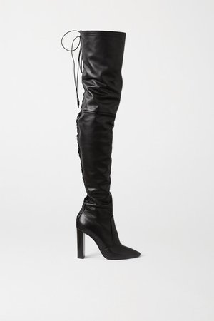 Moon Lace-up Leather Over-the-knee Boots - Black