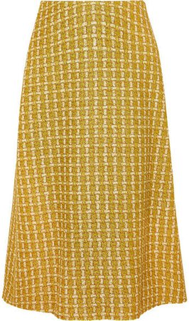 Metallic Wool-blend Tweed Skirt - Yellow