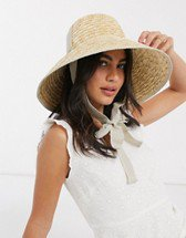 ASOS DESIGN tall crown straw hat with light band in natural | ASOS