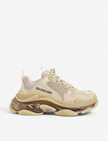 BALENCIAGA - Women's Triple S leather and mesh trainers | Selfridges.com