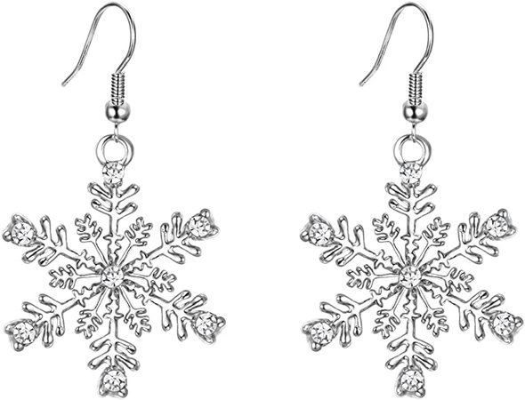 Silver-Tone Snowflake Hook Dangle Earrings