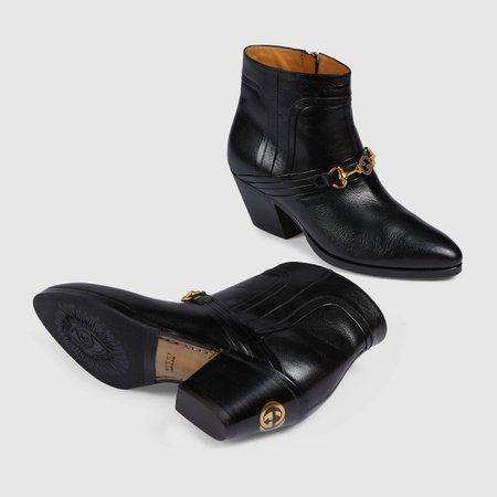 Black Women's boot with Interlocking G Horsebit | GUCCI® TR