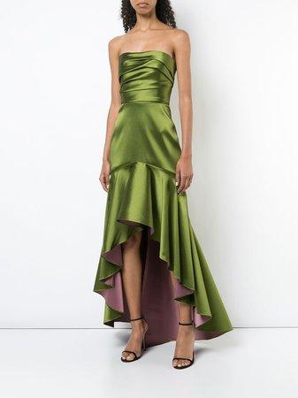 Marchesa Notte Fluted asymmetric-hem Gown - Farfetch