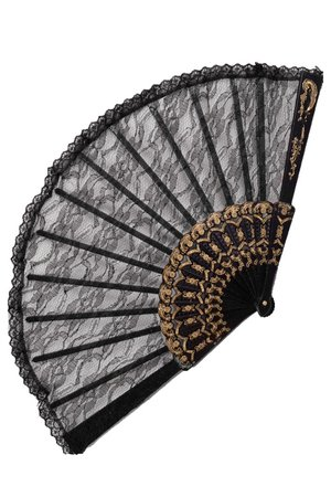 Black Swan Gothic Lace Folding Fan | Gothic Accessories