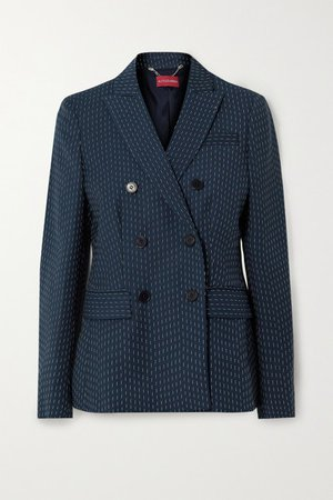 Indiana Double-breasted Embroidered Woven Blazer - Navy