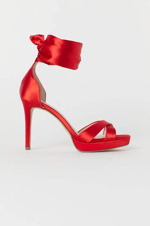 Sandals with Ankle Tie - Red