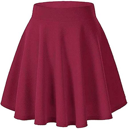 Moxeay Women's Basic A Line Pleated Circle Stretchy Flared Skater Skirt (X-Large, Wine Red) at Amazon Women's Clothing store: