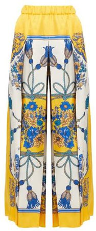 Intrigue Print Silk Wide Leg Trousers - Womens - Blue Multi