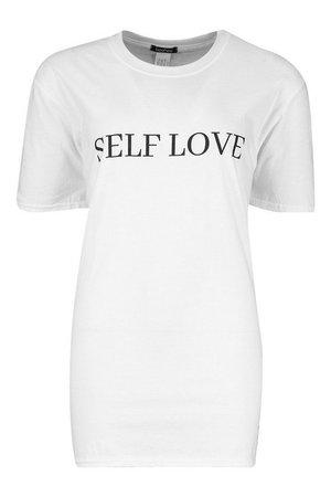 Self Love Slogan T-Shirt | Boohoo white