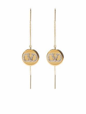 Valentino Garavani crystal-embellished Vlogo Drop Earrings - Farfetch