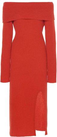 The Elder Statesman Med Ribbed Cashmere Midi Dress Size: XXS