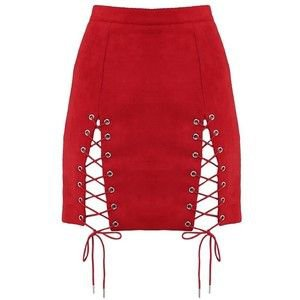 Suede Lace-Up Mini Skirt Red