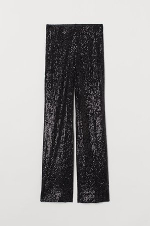 Wide-leg Sequined Pants - Black