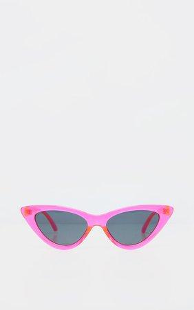 Neon Pink Transparent Frame Cateye Sunglasses | PrettyLittleThing