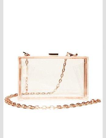bag, purse, rose gold, clear purse, clutch - Wheretoget