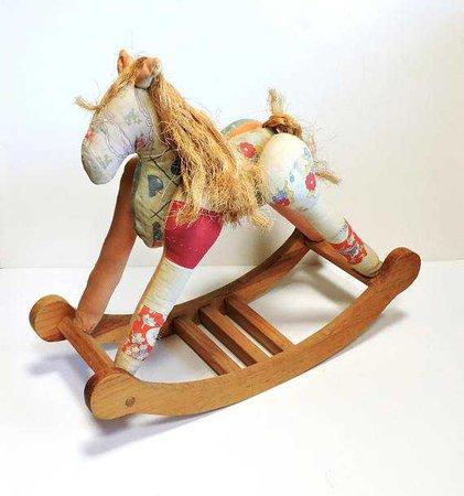 Patchwork Rocking Horse Decorative Folk Art Old Quilt Stuffed