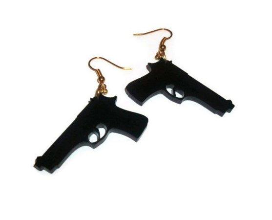 Gun Earrings Laser Cut Dangle Earrings Pistol Weapon Quirky | Etsy