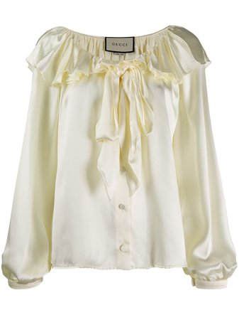 Shop yellow Gucci ruffled pussybow blouse with Express Delivery - Farfetch
