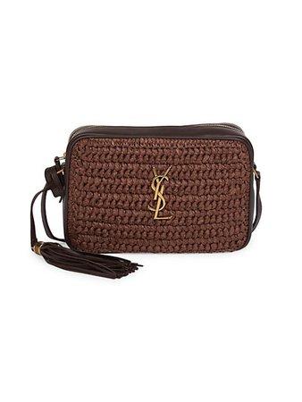 Saint Laurent Woven & Leather Crossbody Bag   SaksFifthAvenue