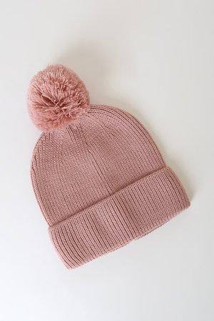 San Diego Hat Co. Blush - Pom Pom Beanie - Ribbed Knit Beanie - Lulus
