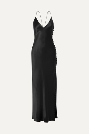 Black The Lillian silk-charmeuse maxi dress | Cami NYC | NET-A-PORTER