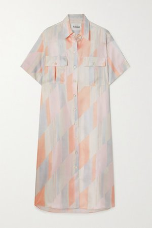 Printed Silk-twill Shirt Dress - Ivory
