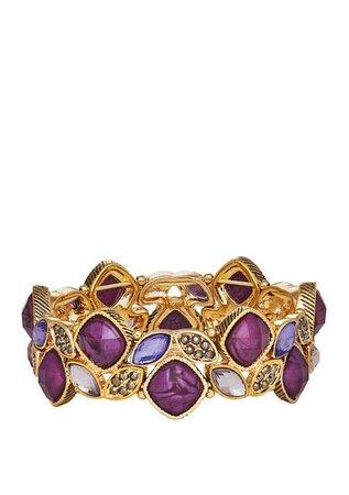Napier Gold Tone Purple Stone Stretch Bracelet