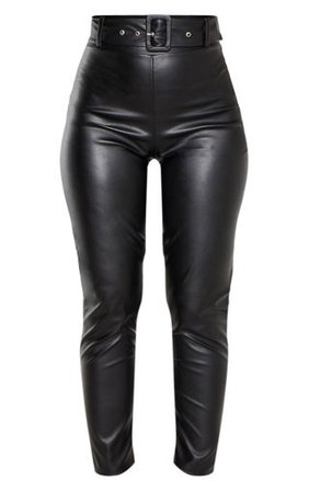 Black Faux Leather Belted Skinny Trouser   PrettyLittleThing