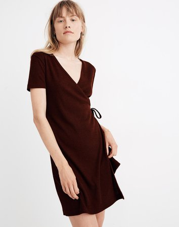 Ribbed Knit Wrap Dress