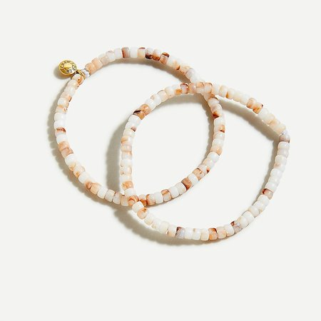J.Crew: Beaded Stretch Bracelet Set For Women natural