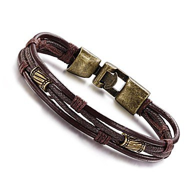 Men's Rope Wrap Wrap Bracelet Leather Bracelet Leather Titanium Steel Personalized Vintage Hip-Hop Bracelet Jewelry Silver / Bronze For Daily Casual Sports 2630085 2019 – $4.99