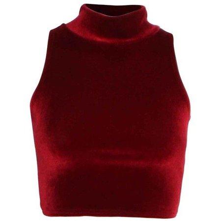 Red Velvet Turtleneck Crop Top