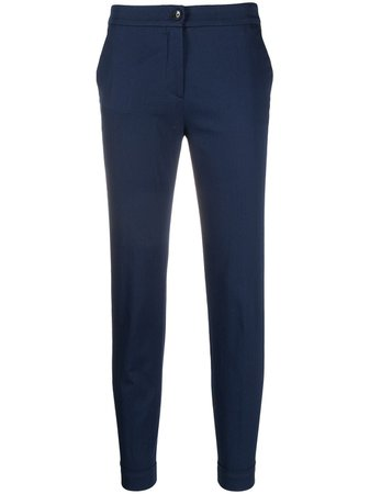 Shop blue Etro cropped cotton-blend trousers with Express Delivery - Farfetch