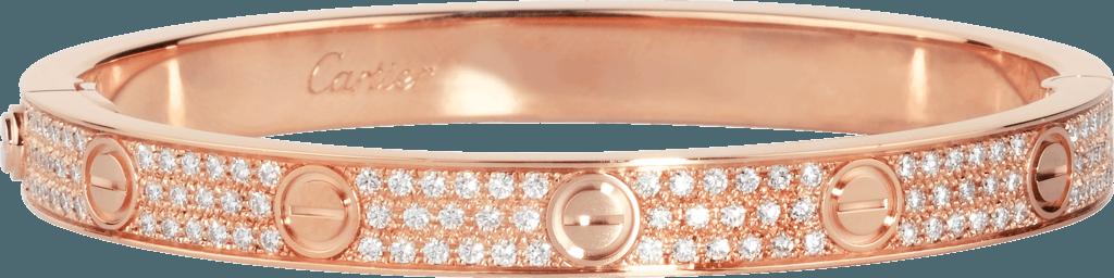 CRN6036917 - LOVE bracelet, diamond-paved - Pink gold, diamonds - Cartier