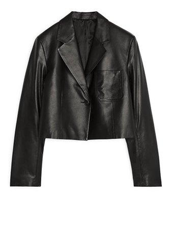 Cropped Leather Blazer - Black - Tailoring - ARKET GB